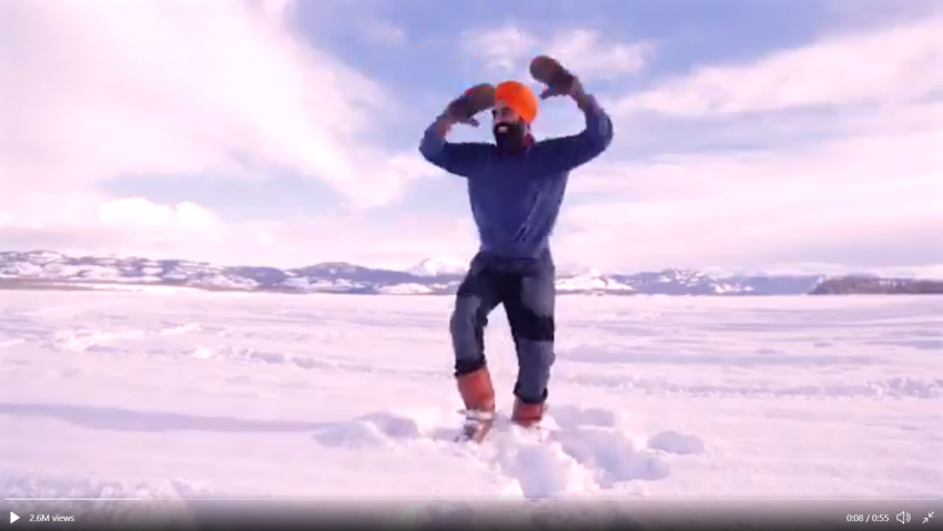 Happy At Getting Covid-19 Vaccine, Man Celebrates By Dancing Bhangra On Frozen Lake