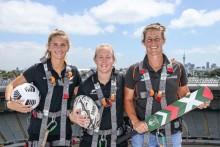 New Zealand's Sports Icons Kendra Cocksedge, Katie Bowen and Sophie Devine Mark International Women's Day