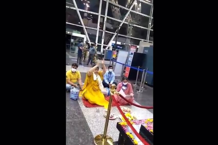 Madhya Pradesh Minister Performs Puja At Airport To Beat Covid, Is Joined By Airport Director, Staff