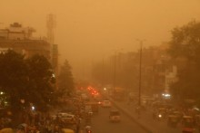 Visibility Affected Due To Dust Storm In Delhi