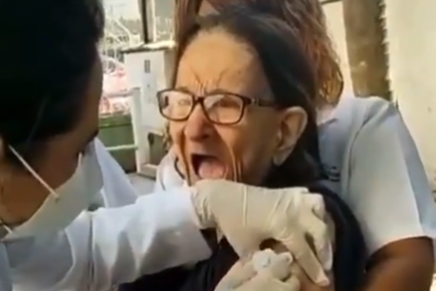 Old Woman Screams Like A Kid While Getting Injected, Video Goes Viral