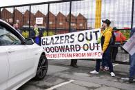 Manchester United Fans Protest On Old Trafford Pitch Before Liverpool Game