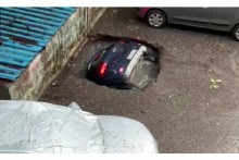 Watch: Concrete Floor Caves In, Car Sinks Into Water, Video Goes Viral
