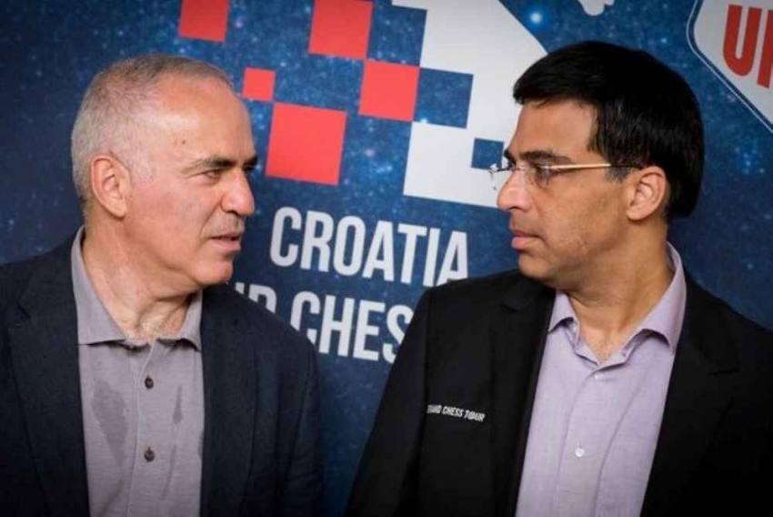 Viswanathan Anand Defeats Garry Kasparov In Croatia Grand Chess Tour