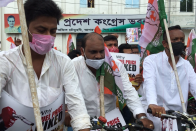 Youth Congress Ride Bicycle To Protest Against Fuel Price Hike In Tripura