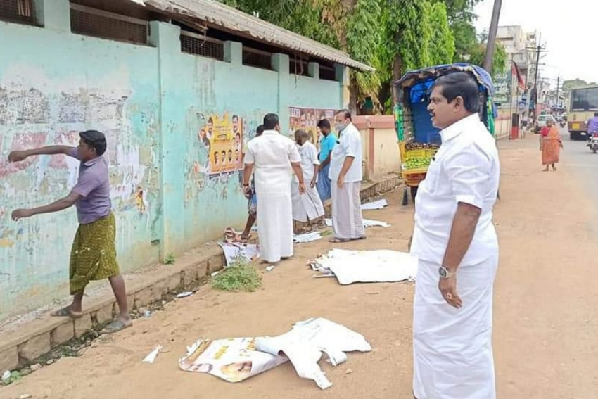 DMK MLA Shows The Way, Pulls Down His Birthday Posters From School Wall