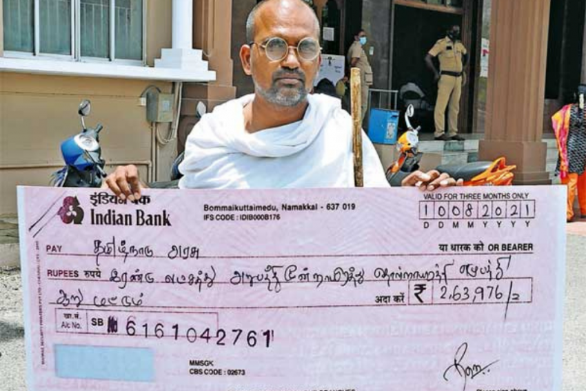 Tamil Nadu Man Writes Rs 2.6 Lakh Cheque To Govt To Help Clear State's Public Debt