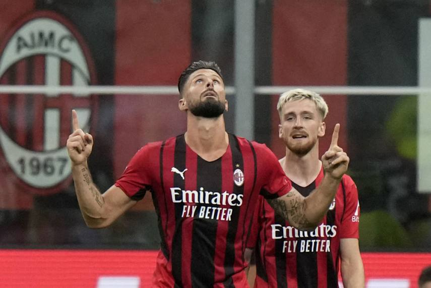 Olivier Giroud Scores Brace As AC Milan Rout Cagliari In Serie A