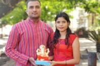 Actor-Producer Amol Ghodke And Actress Pallavi Tadake Welcome Ganesha