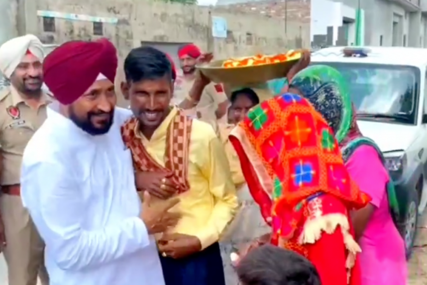 Video Of Punjab CM Channi Stopping His Car To Wish Newly Wed Couple Goes Viral