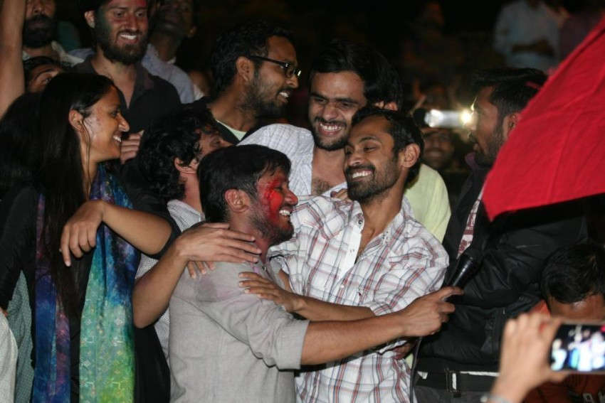 Watch Umar Khalid And Anirban Address Supporters At JNU