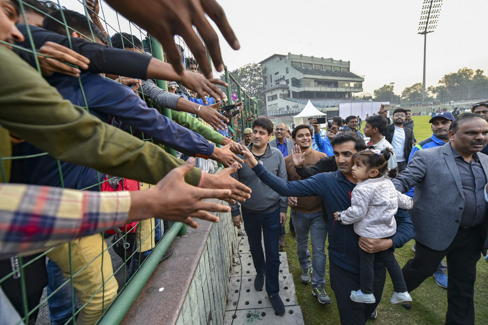 Gautam Gambhir greets fans on the last day of Ranji Trophy match between Delhi and Andhra at Feroz Shah Kotla Ground in New Delhi on December 9, 2018.