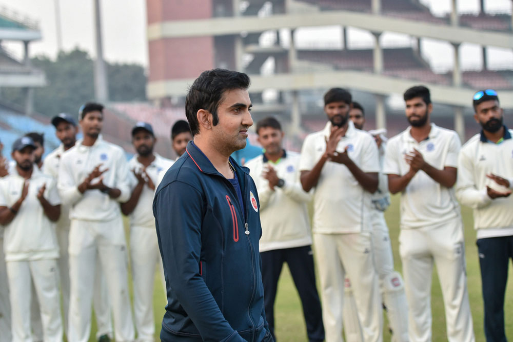 Guard of honour for Gautam Gambhir on the last day of Ranji Trophy match between Delhi and Andhra at Feroz Shah Kotla Ground, in New Delhi on December 9, 2018.