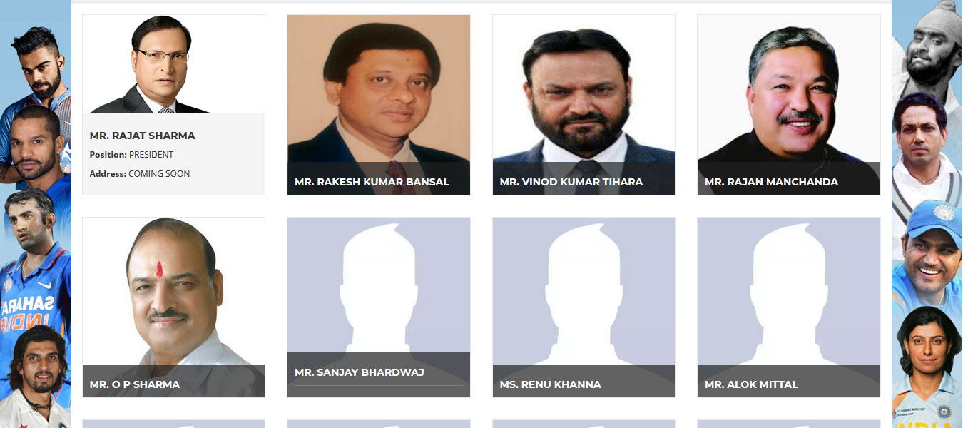 A screen shot of the executive committee members' page on the Delhi and District Cricket Association website. Photos of only five of the 12 members is seen – and without their addresses -- even six months after the elections were held for the body.