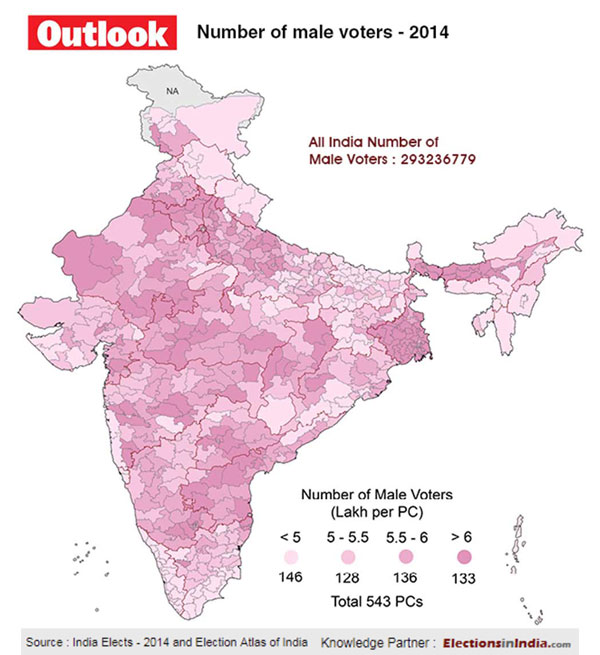 Number of Male Voters in 2014 Lok Sabha elections