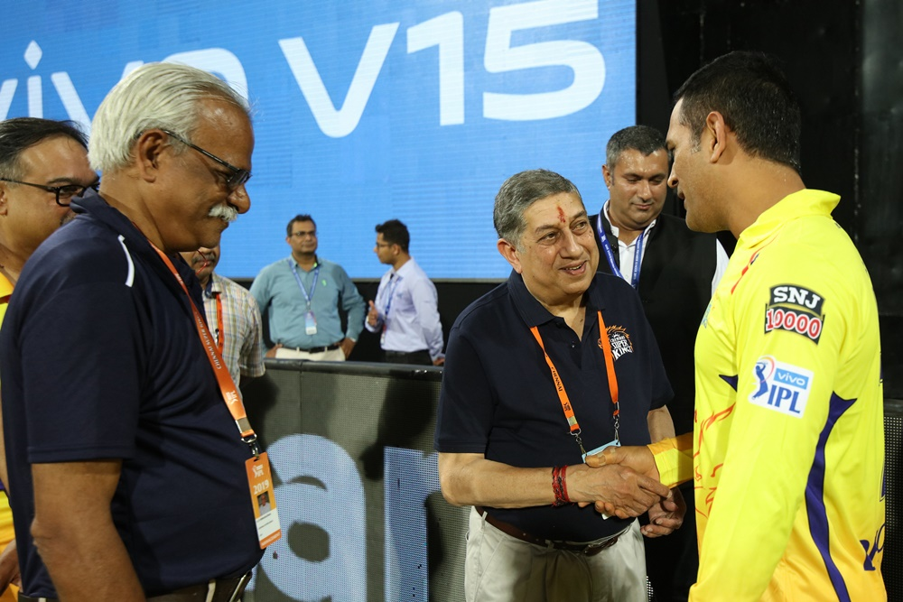MS Dhoni has the trust of CSK owner N. Srinivasan. Dhoni has been with Chennai since 2008. Photo: BCCI