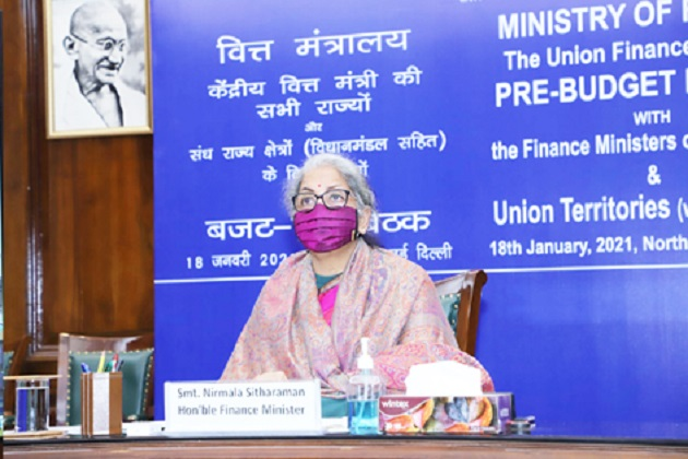 Finance Minister Nirmala Sitharaman chairing pre-Budget consultations with Finance Ministers of all States and Union Territories on January 18
