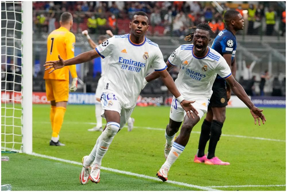 Real Madrid's Rodrygo (L) celebrates with Eduardo Camavinga after scoring against Inter Milan at the San Siro Stadium on Wednesday.
