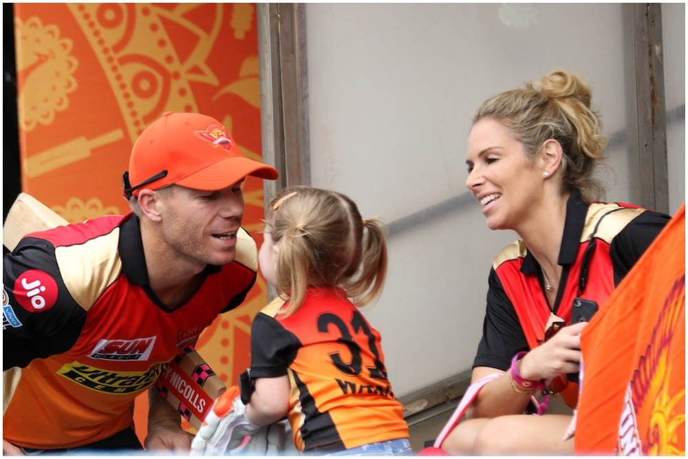 David Warner with his wife Candice and daughter Ivy during happier times with SRH in Hyderabad in 2019. (Photo: BCCI-IPL)