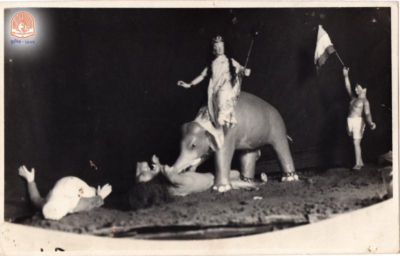 Swadeshi puppet show at Simla Byayam Samiti's puja in pre-Independence days. Courtesey - Facebook Simla Byayam Samiti
