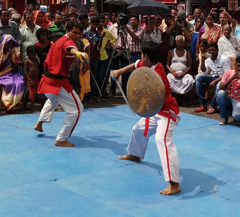 Sword fight at Bagbazar Beerashtami. courtesey Facebook, Bangiya Byayam Samiti