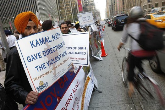 New York: Sikhs rally to protest a speech by Kamal Nath