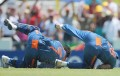 Dhoni and Yusuf Pathan collide attempting a catch off S. Chanderpaul during the match against the Windies at the T20 World Cup