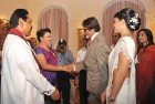 Bachchan greets Mahinda and Shiranthi Rajapaksa as former Miss Sri Lanka Jacqueline Fernandez looks on.