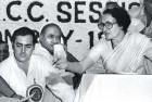 <b>Whodunit?</b> Rajiv Gandhi, P.V. Narasimha Rao and Indira Gandhi at an AICC session