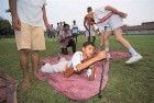 Scenes from 2000 Bajrang Dal training recruits at a camp in Ayodhya