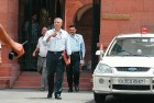 <b>Smoke signals:</b> Union home secretary G.K. Pillai coming out of the PMO after a meeting, May 26, 2010