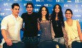<b>New Screen:</b> The cast of Dhobi Ghat. From left, Aamir Khan, Prateik Babbar, Kriti Malhotra, Monica Dogra and director Kiran Rao
