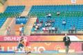 Row upon row of empty seats greet wrestlers at the Indira Gandhi Stadium