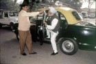 <b>The driver</b> Manmohan arrives for a CWC meeting at Sitaram Kesri's house, Delhi 1997