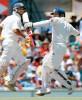 <b>Once when he made it:</b> Tendulkar celebrates a century as VVS looks on, 4th Test, Sydney, 2004