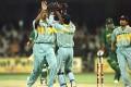 Venkatesh Prasad celebrates on taking the wicket of Aamir Sohail in the 1996 India-Pakistan World Cup match