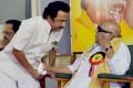 <b>In Control</b> Karunanidhi with Stalin at the Coimbatore DMK meet