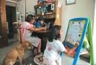 Dola Dasgupta with her home-schooled kids, in Delhi