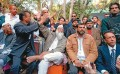 <b>The silencing...</b> Muslim activists outside Diggi Palace protesting Salman Rushdie's address via video link