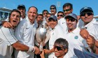 <b>Twice as nice</b> Team Rajasthan celebrates with the Ranji Trophy after beating Chennai