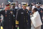 File Photo: Defence Minister A K Antony and Army Chief Gen V K Singh at Martyrs' Day function at Rajghat in New Delhi.