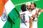 (L to R) Shivendra, Sandeep and Sardar after the final match against France