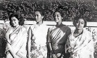 <b>The Lady</b> Suu Kyi (second, from left) with Malavika Chanda (far right) in 1964
