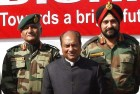 <b>Flanked by controversy</b> Defence minister A.K. Antony with V.K. Singh and Bikram Singh