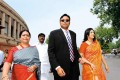 Karti Chidambaram with mother Nalini and wife Srinidhi outside Parliament