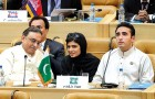 <b>Strictly business</b> Pakistan president Asif Ali Zardari, foreign minister Hina Rabbani Khar, and Bilawal Bhutto Zardari at the NAM summit in Tehran