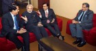 K.V. Kamath, Mukesh Ambani, Ratan Tata with Modi at a 'Vibrant Gujarat' meet