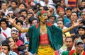 <b>Like a tiger</b> A protester at Shahbag Square in Dhaka