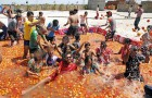 <b>Red, red, red</b> Holi goes tomatoes at a water park in Patna