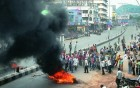 <b>Burning still</b> Traders in Vijayawada protest against the bifurcation of AP